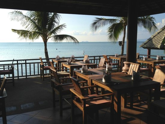 Fair House Villas & Spa: das Restaurant, wo morgens auch gefrühstückt wird