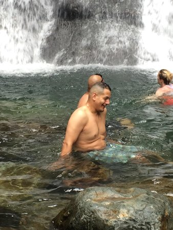 La Mina Falls: Navigating the rocks to get closer to the falls. There are big rocks to step on and then the las