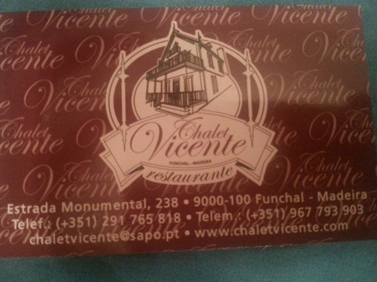 Chalet Vicente: Business card