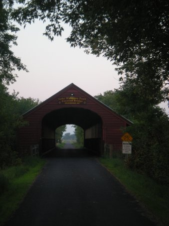 Minnesota: Covered bridge at Holdingford along the Lake Wobegon Trail.