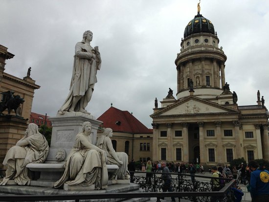 Original Berlin Walks: The French Cathedral and statue of Friedrich Schiller (poet who wrote Ode to Joy)