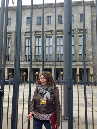 Original Berlin Walks: Our guide Ashleigh outside the building that used to house the Luftwaffe