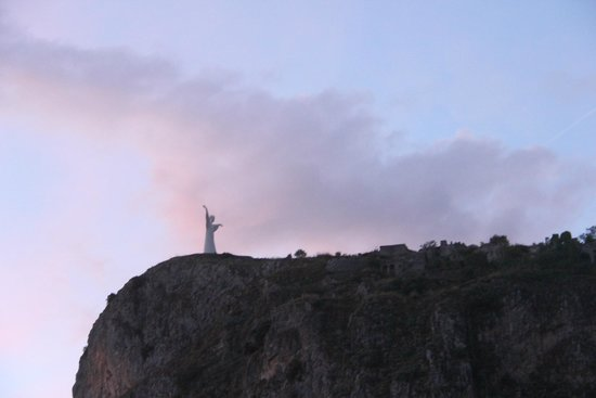 The Christo and the ruins high above Maratea Italy at sunset. Monte San Biagio  |   85046 Marate