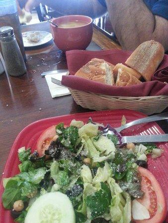 La PizzaTega Restaurant : House salad bread and chicken tortellini soup