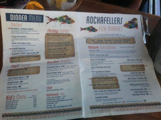 Rockafeller's Restaurant: Menu