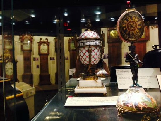 National Watch and Clock Museum : French serpent & egg clock; large case grandfathers in the background