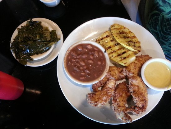 Dean's Restaurant and Bakery: Chicken tenders, wood grilled squash, pintos, and turnip greens