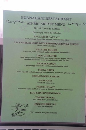 Bohio Dive Resort: Menu