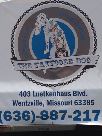 The Tattooed Dog: Outside sign