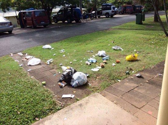Nomads Airlie Beach Backpackers : Müll vor unserem Zimmer verteilt