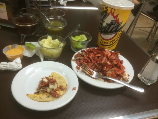 Tacos el Pata: This is a choncho of steak and al pastor beef