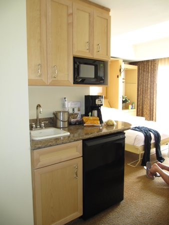Polo Towers Suites: Kitchenette with microwave & small fridge