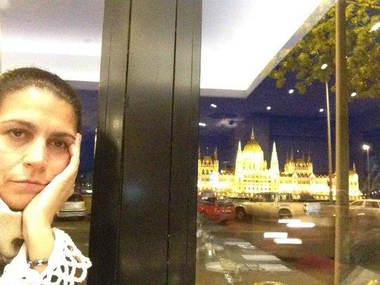 Novotel Budapest Danube: cena con el Parlamento de fondo