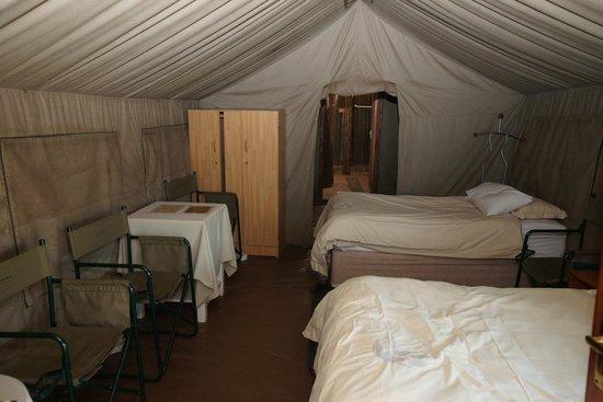 """Wildside Tent Camp Lion Park : """"Main"""" bedroom"""