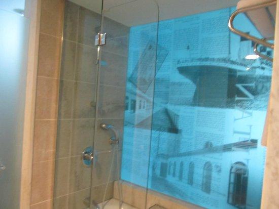 Titanic Beach Lara Hotel: Стеклянная стена ванной комнаты с изображением Титаника.