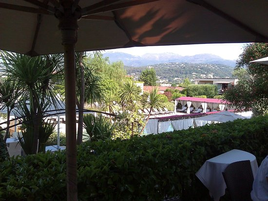 Le Mas de Pierre Hotel: vue terrasse restaurant