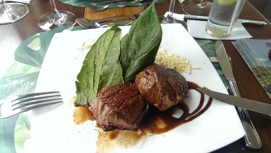 Restaurante In Situ : Lunch. Filet of beef with a coffee reduction, lemon spinach and plantain mash. Delicious!