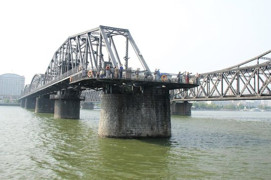 China and North Korea Friendship Bridge: Dandong Yalu River, the Broken Bridge (DuanQiao)