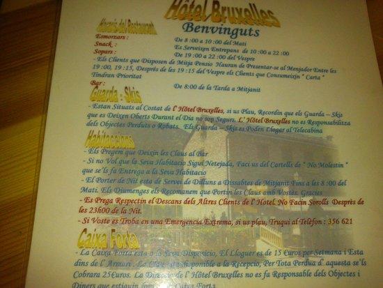 Hotel Bruxelles: la nota donde especifica los horarios de cena