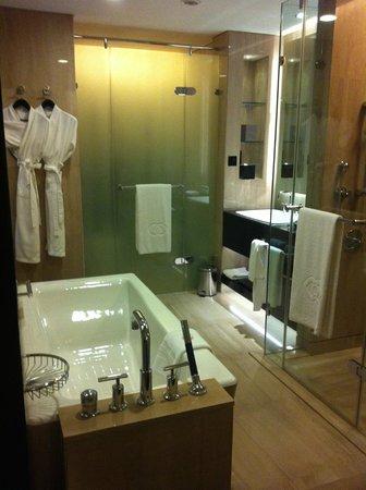 Sofitel Abu Dhabi Corniche: Blick in das stylische Bad (Toilettenbereich oben OFFEN)