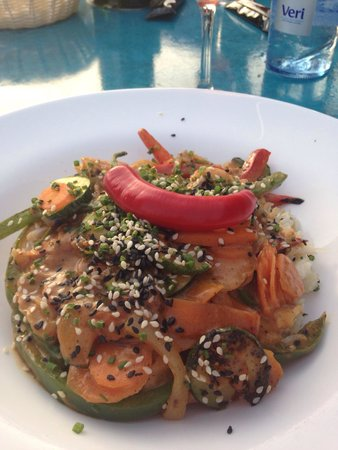 Blue Bar Formentera: Curry rice with vegetables
