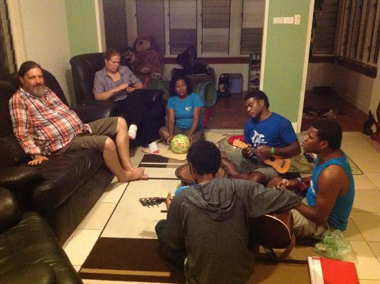 Rabosea Bed & Breakfast : The locals entertain us upstairs if you feel like socializing