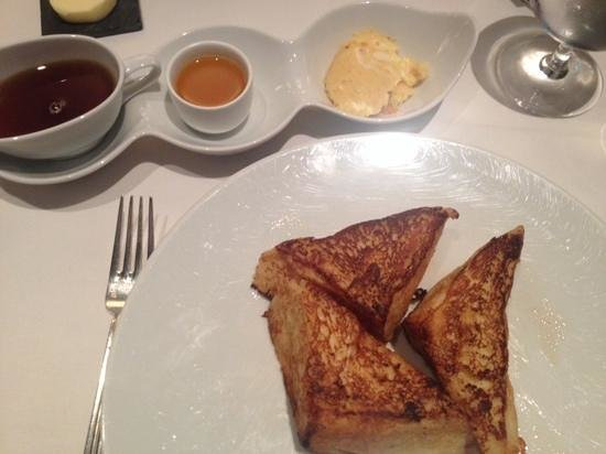Cafe Boulud : Brioche French Toast orange butter, passion fruit syrup