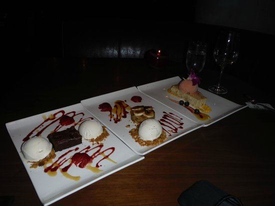 Toro Toro Restaurant & Bar: Three amazing deserts courtesy of Carlos and Olivia