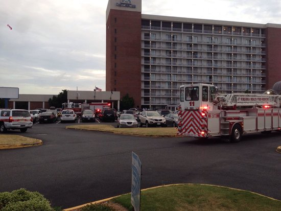 Cavalier Hotel: Employee threw cigarette butt in trash can which set off fire alarm at 6:03am and evacuated the