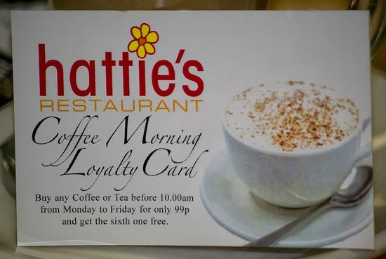 Hatties Restaurant : Hattie's loyalty card