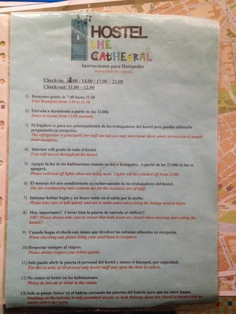 The Cathedral Hostel: The big rule sheet they make you read upon check-in