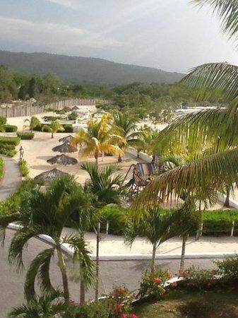 Grand Bahia Principe Jamaica: the beach from our balcony, 2nd floor