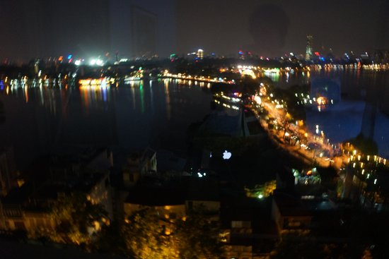 Truc Bac and West Lake at night