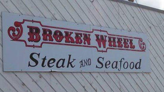 Broken Wheel Restaurant & Lounge: Broken Wheel sign