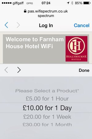 Wifi costs at Farnham House Hotel