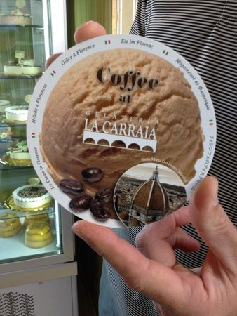 Gelateria La Carraia : Postcard advertising. The coffee flavor is excellent.