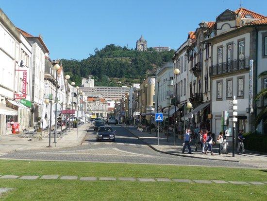 Pousada De Viana Do Castelo Charming Hotel: Hotel on hill in far distance.