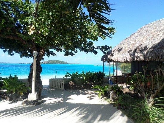 Village Temanuata : la plage vue de la pension