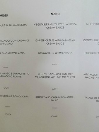 Grand Hotel Aminta: Gala night menu