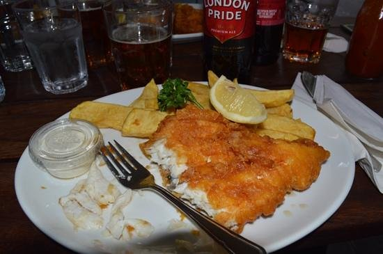 Rock & Sole Plaice: that's not grease, it's vinegar. and it's delicious