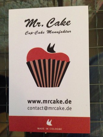 Mr. Cake Cologne: Business card with contact info