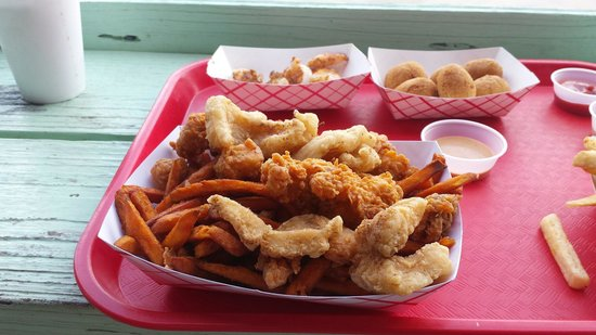 City Seafood: Gator, fish, grilled shrimp, hush puppies,  and sweet potato fries