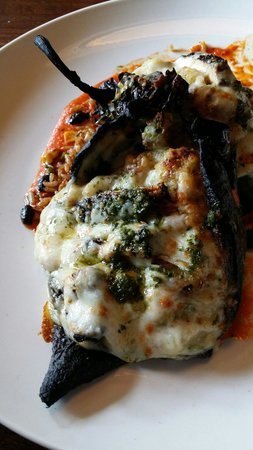DESTIHL-Champaign : Stuffed Poblano Peppers with blacked chicken :)