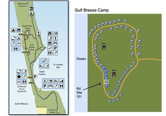 Map of campgrounds  Recommend Gulf Breeze Camp - Picture of St