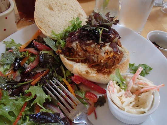 Coast Coffee Bar and Bistro: veggie burger, made with beans, sweet potato, and other stuff, yum!