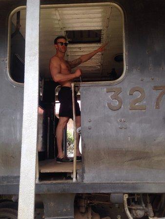 Nairobi railway museum: My husband fooling around 😄