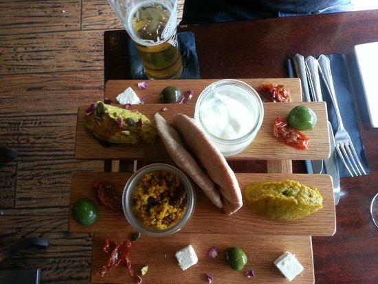 The Peach Tree Restaurant : 'Medina Mezze' Board: hummus, baba ganoush, tzatziki, olives, feta, tabouleh & pittas