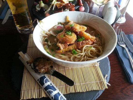 The Peach Tree Restaurant : 'Taishoken Ramen': crispy BBQ belly pork, togarashi scallops, noodles, kimchi, egg & shiitake da