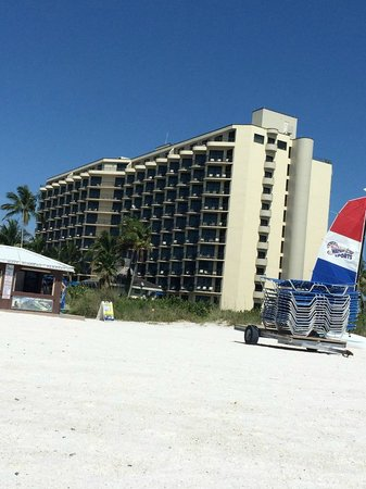 Hilton Marco Island Beach Resort--CLOSED FOR RENOVATIONS; REOPENING DEC. 1, 2017: Pool side view of the hotel from the beach.