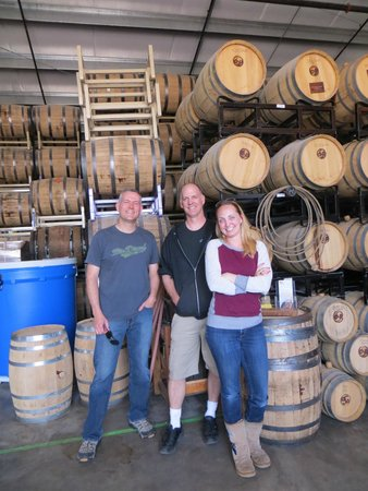 The Well Traveled Fork: Just hanging out with some Whiskey barrels and the owner at Oregon Spirit Distiller